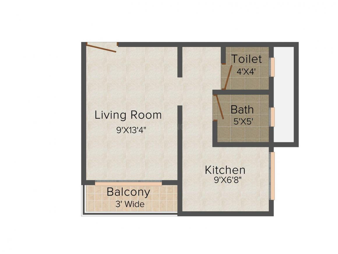 Floor Plan Image of 400.0 - 645.0 Sq.ft 1 RK Apartment for buy in Shree Sai Samarth D L Palace
