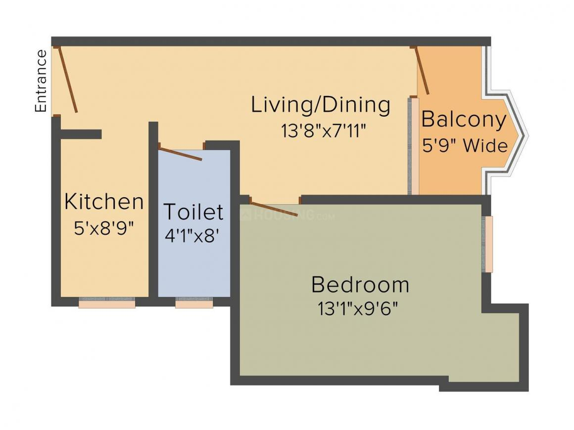 Floor Plan Image of 491 - 1017 Sq.ft 1 BHK Apartment for buy in Tripureswari Plaza