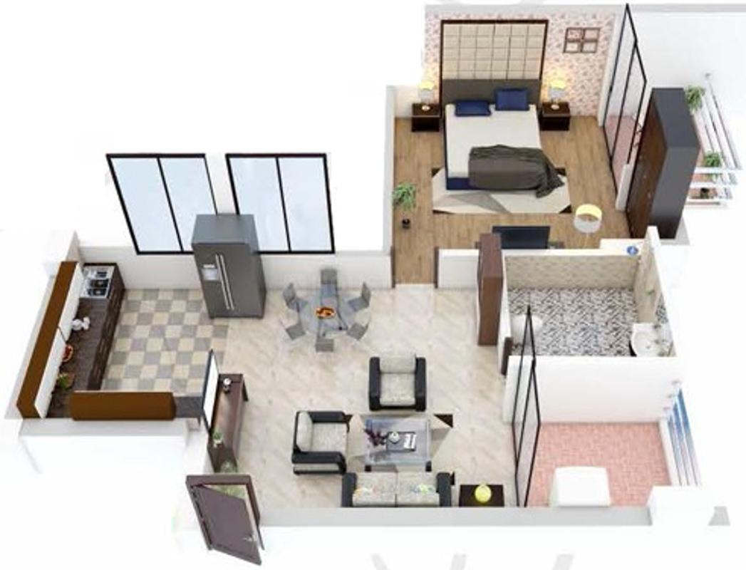 Rohit Grand Floor Plan: 1 BHK Unit with Built up area of 447 sq.ft 1
