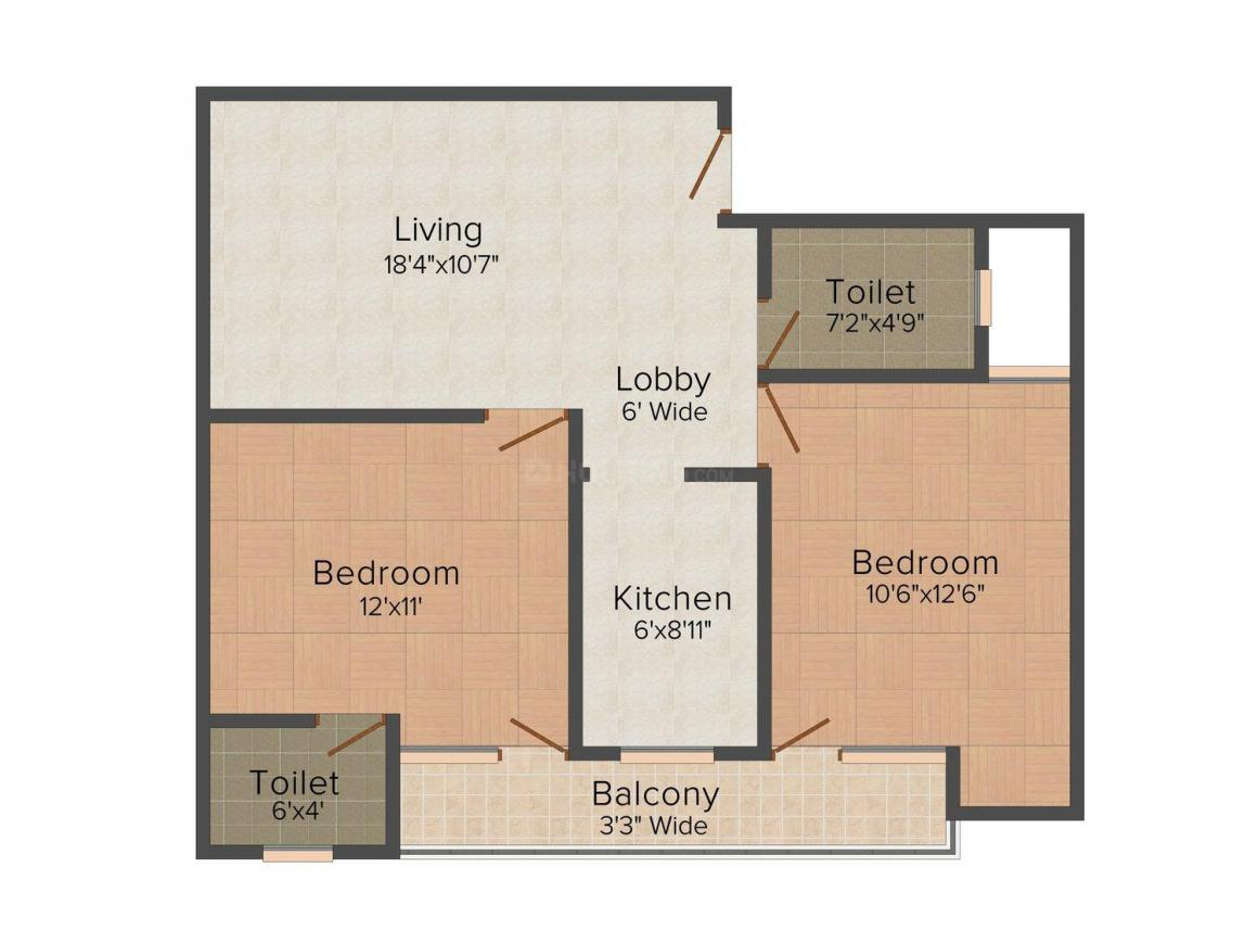 Satish Homes - II Floor Plan: 2 BHK Unit with Built up area of 675 sq.ft 1