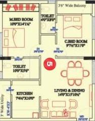 Sunrise Towers Floor Plan: 2 BHK Unit with Built up area of 1033 sq.ft 1