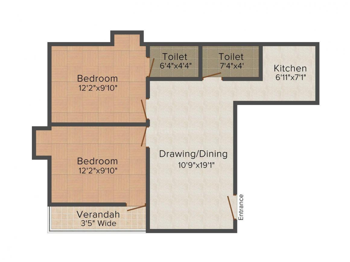 Floor Plan Image of 1015.0 - 1050.0 Sq.ft 2 BHK Apartment for buy in Ananya Ananya