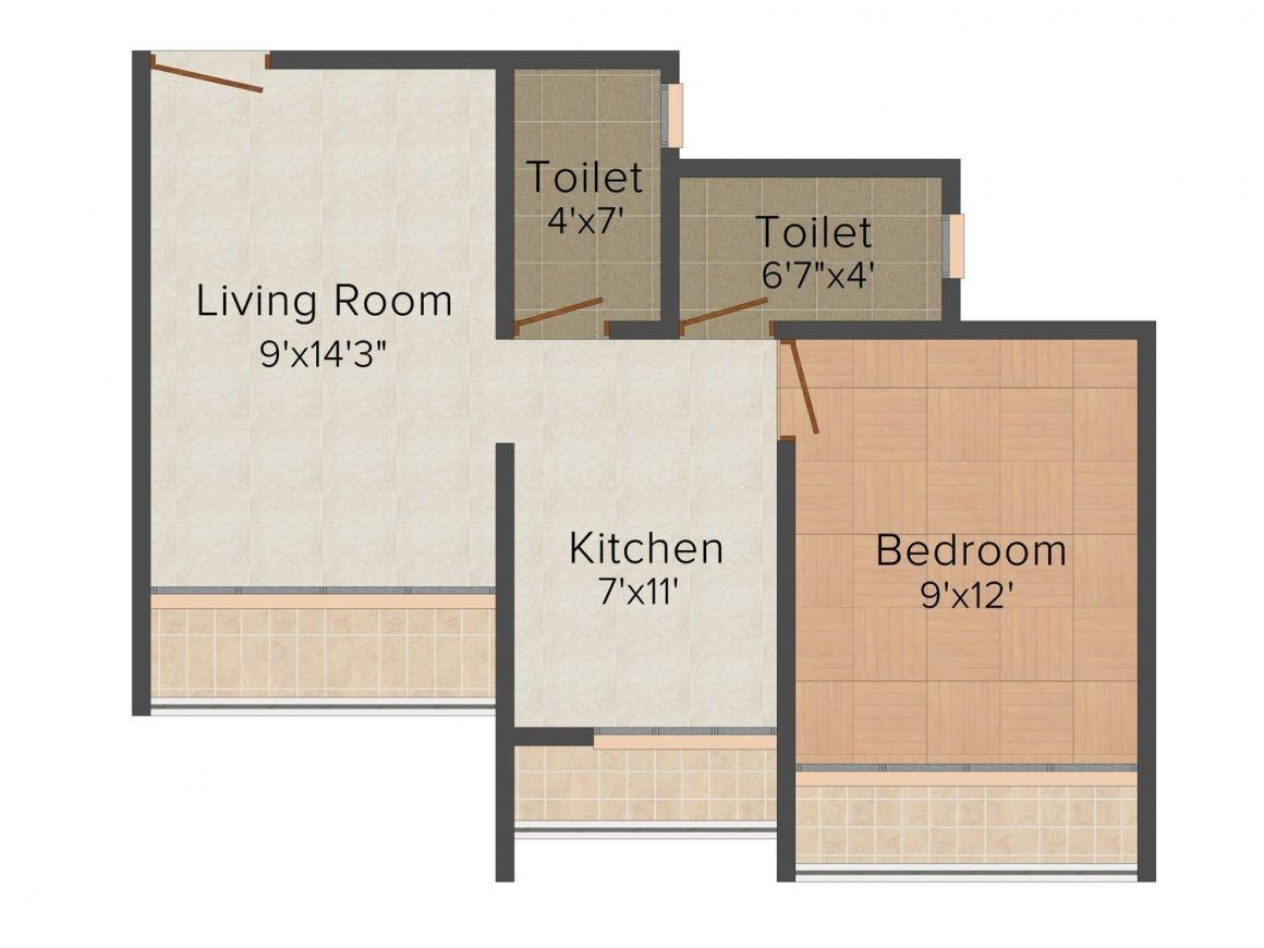 Floor Plan Image of 0 - 640.0 Sq.ft 1 BHK Apartment for buy in Rudra Magnum