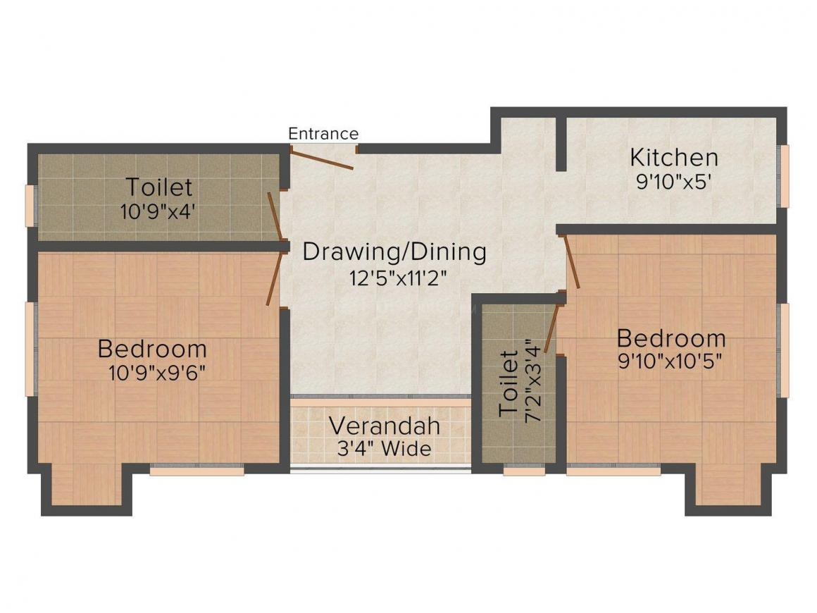 Floor Plan Image of 813.0 - 1060.0 Sq.ft 2 BHK Apartment for buy in Anupam Gruha Premises No.804/1 Kalikapur Road
