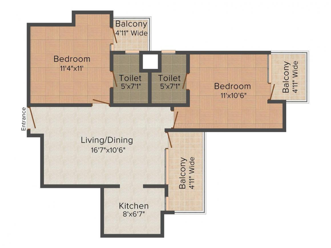 Floor Plan Image of 975.0 - 1100.0 Sq.ft 2 BHK Apartment for buy in Amrapali Bollywood Towers