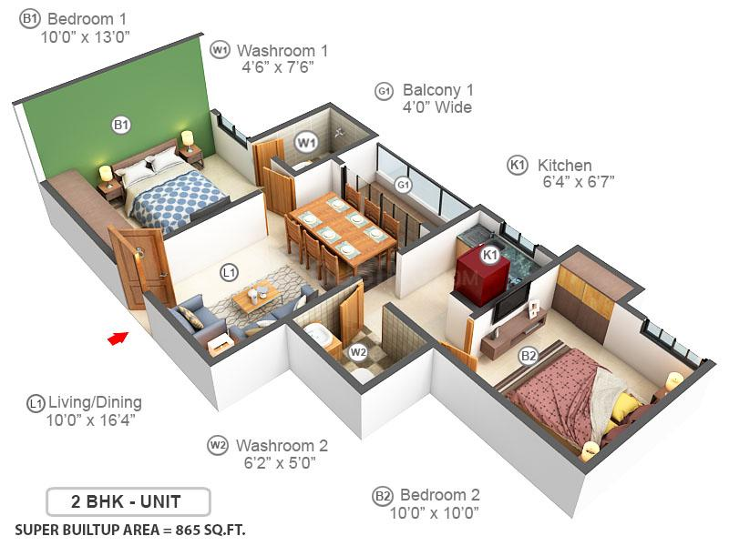 Lakewood Estate Floor Plan: 2 BHK Unit with Built up area of 865 sq.ft 1