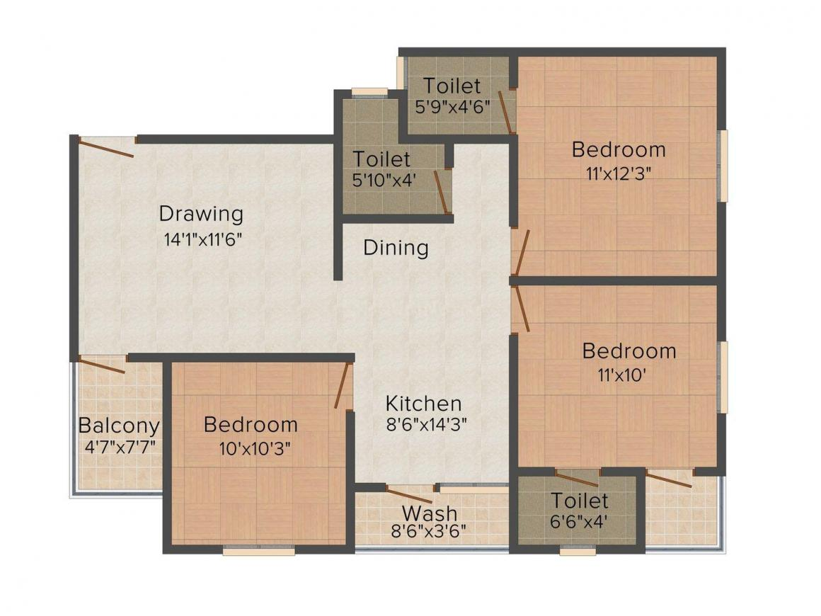 Floor Plan Image of 0 - 770.0 Sq.ft 3 BHK Apartment for buy in Shree Jay Ambe Shukan-7