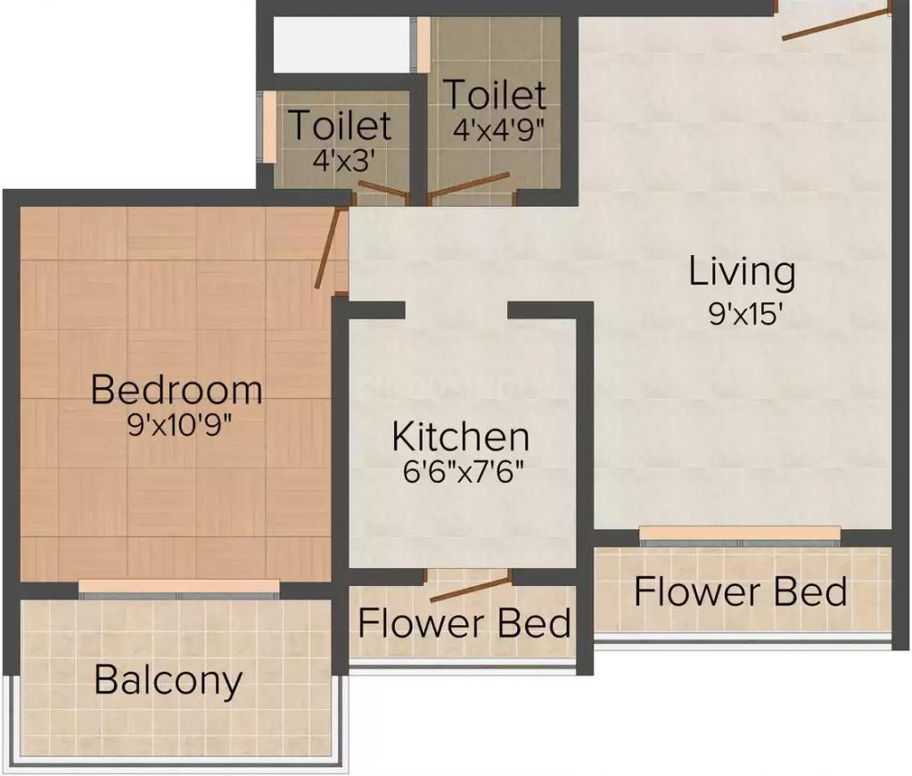 Floor Plan Image of 680.0 - 870.0 Sq.ft 1 BHK Apartment for buy in S M Heights