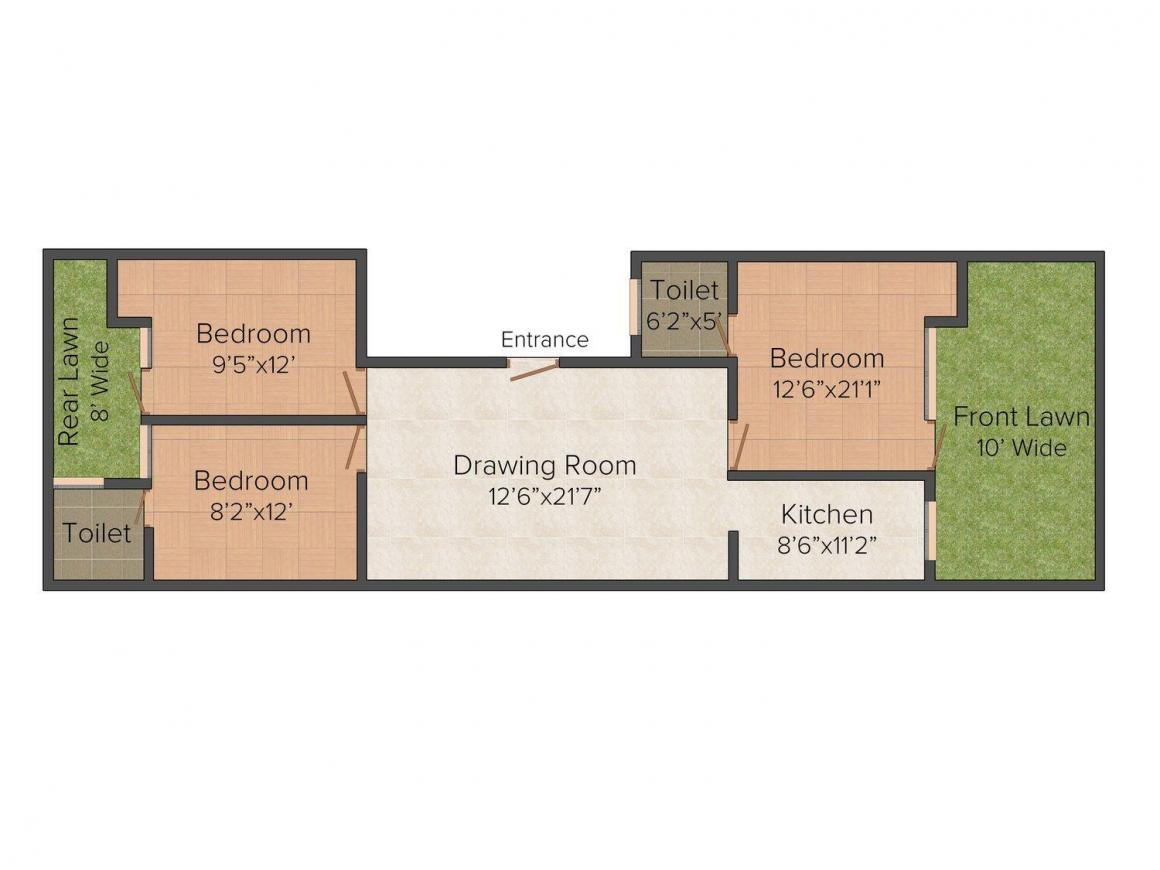Floor Plan Image of 0 - 1350.0 Sq.ft 3 BHK Independent Floor for buy in V. P. Homes 41