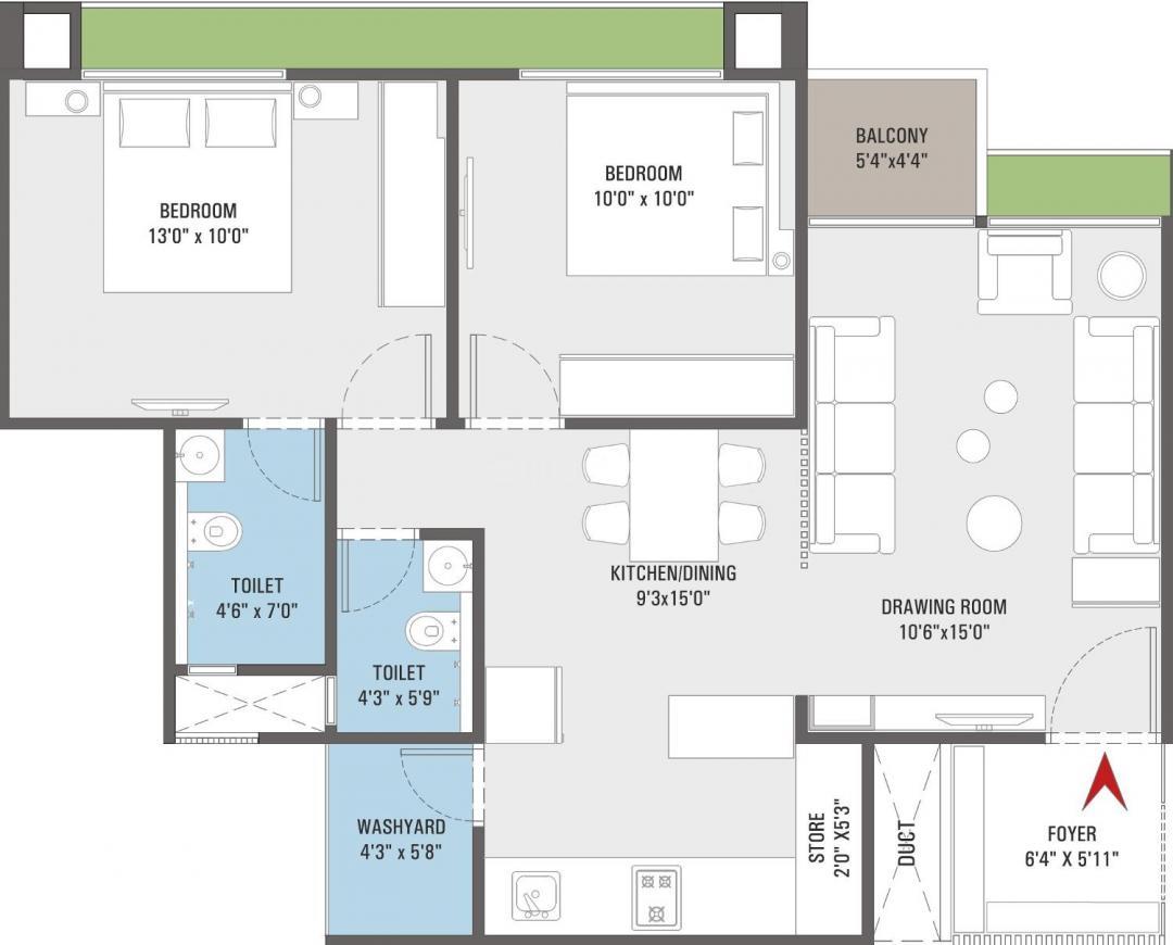 Shri Parshva Spg Evans Floor Plan: 2 BHK Unit with Built up area of 1185 sq.ft 1