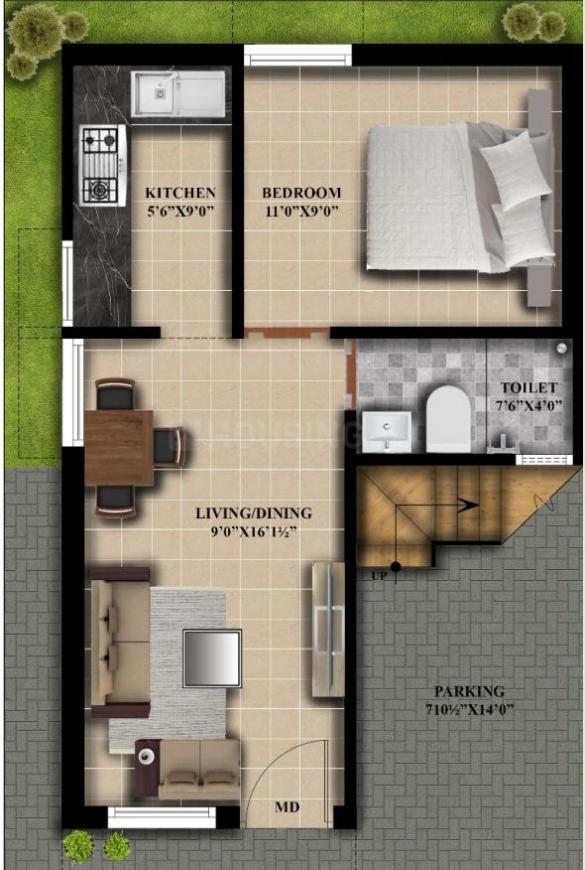Gad Villas Floor Plan: 1 BHK Unit with Built up area of 500 sq.ft 1