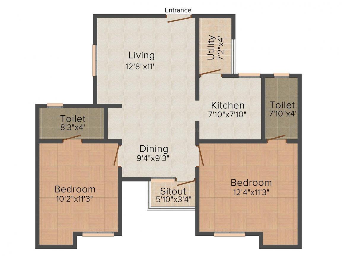 Kgeyes Samyuktha Floor Plan: 2 BHK Unit with Built up area of 954 sq.ft 1