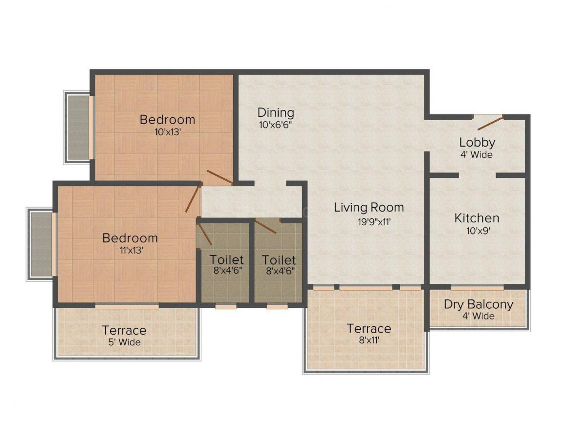 Floor Plan Image of 1190 - 2200 Sq.ft 2 BHK Apartment for buy in Ashar Grape City