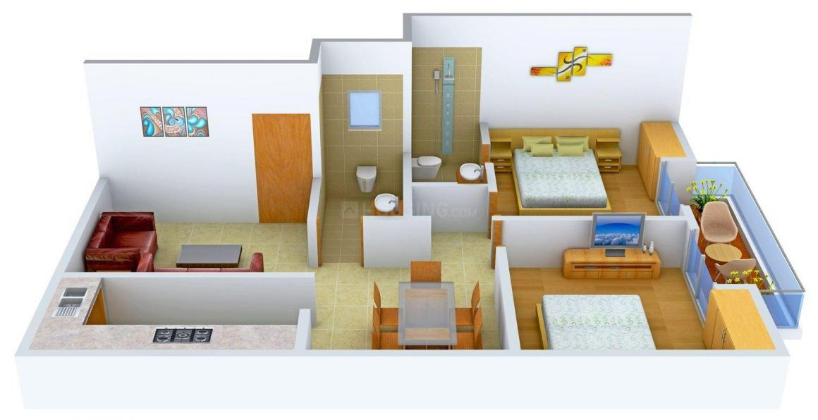 Floor Plan Image of 0 - 1010 Sq.ft 2 BHK Apartment for buy in Ashiana Camellia