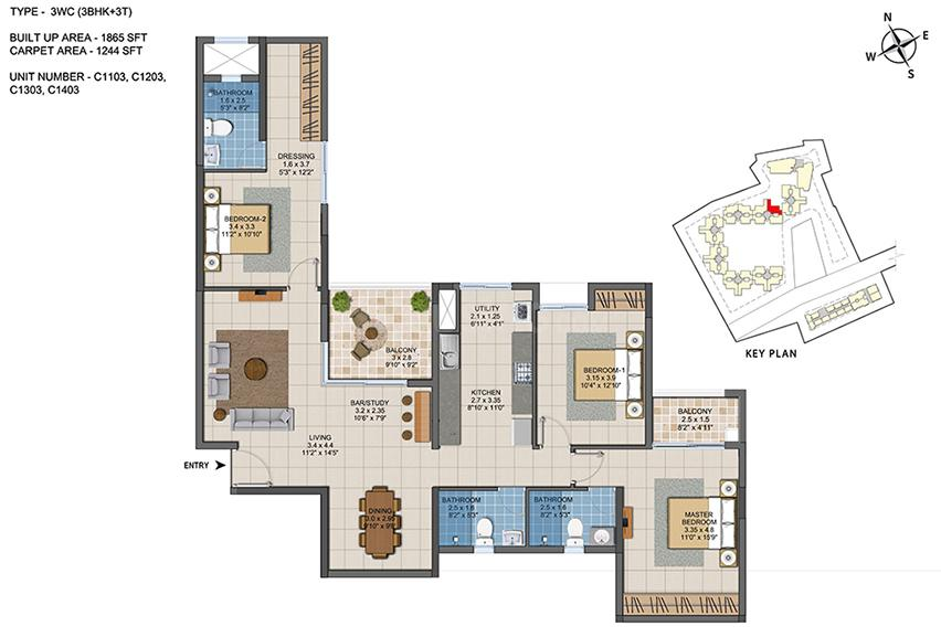 Casagrand ECR 14 Floor Plan: 3 BHK Unit with Built up area of 1865 sq.ft 1