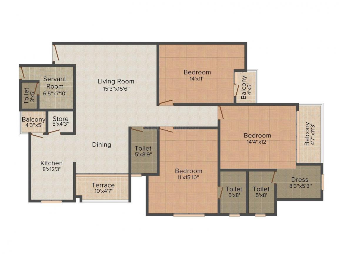 Floor Plan Image of 1230.0 - 2340.0 Sq.ft 2 BHK Apartment for buy in Manglam Aroma