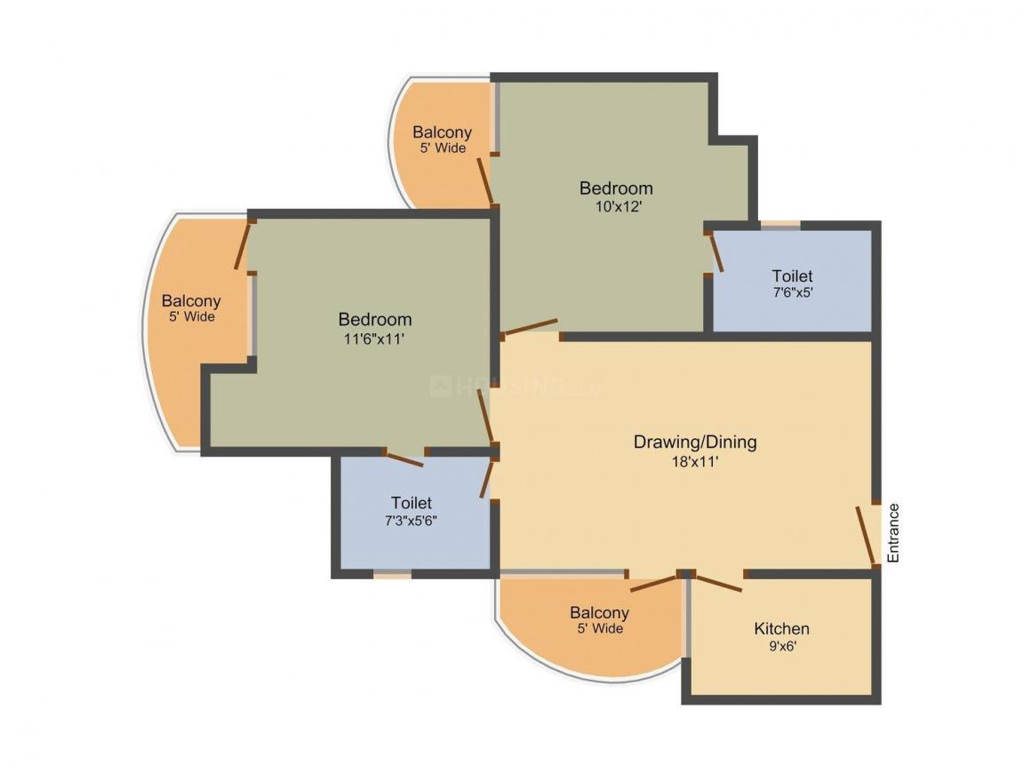 Floor Plan Image of 900 - 1330 Sq.ft 2 BHK Apartment for buy in VXL Eastern Heights