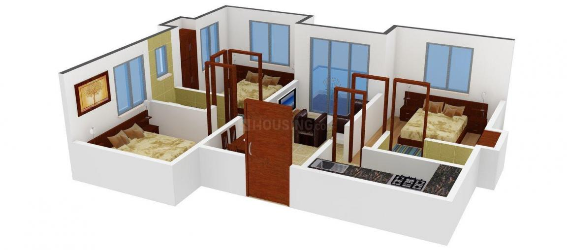 Jeet Palace Floor Plan: 3 BHK Unit with Built up area of 1080 sq.ft 1