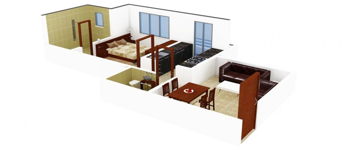 Floor Plan Image of 0 - 707.0 Sq.ft 1 BHK Apartment for buy in Green Heights
