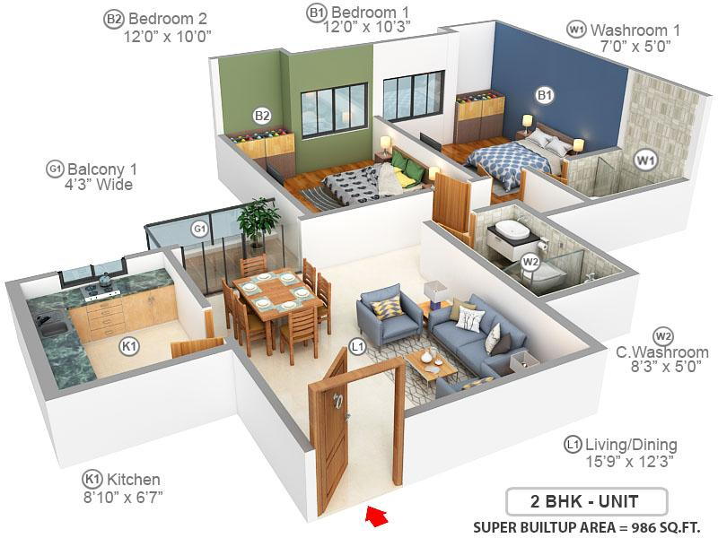 Sunland Residency Floor Plan: 2 BHK Unit with Built up area of 986 sq.ft 1