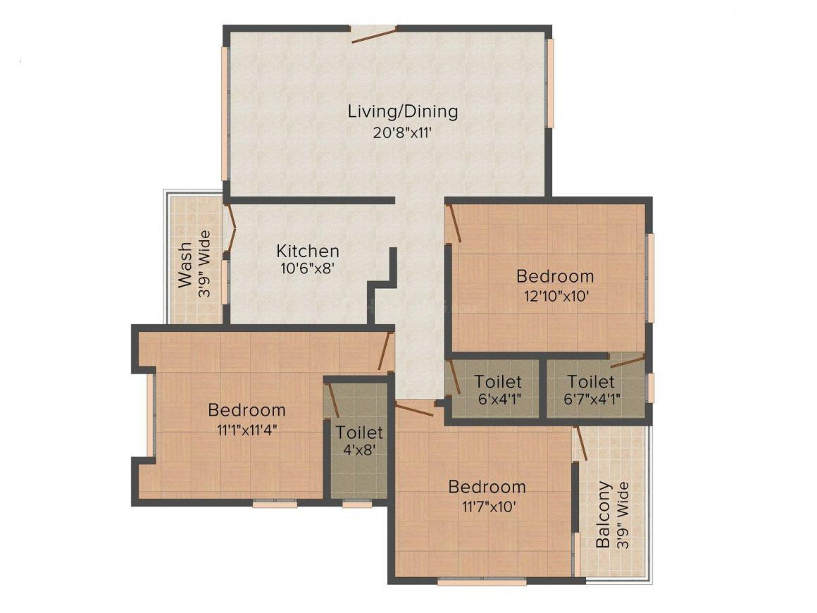 Floor Plan Image of 945.0 - 1085.0 Sq.ft 3 BHK Apartment for buy in Pioneer Solitaire