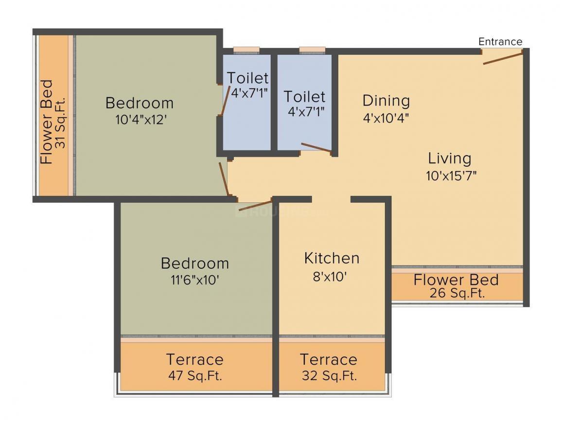 Floor Plan Image of 1169.0 - 1595.0 Sq.ft 2 BHK Apartment for buy in Mahaavir Universal Homes Avenue 1
