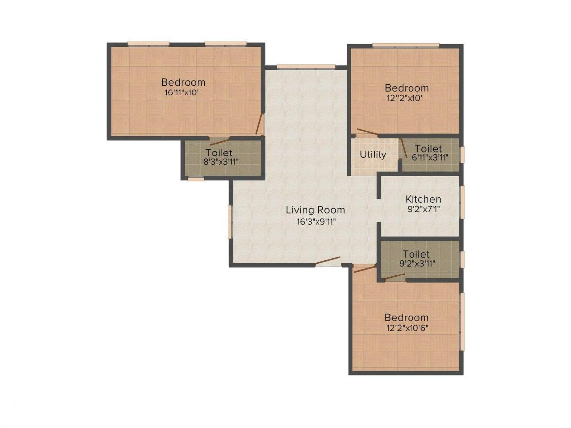 Floor Plan Image of 724.0 - 3100.0 Sq.ft 1 BHK Apartment for buy in Sugee Sugee Sadan