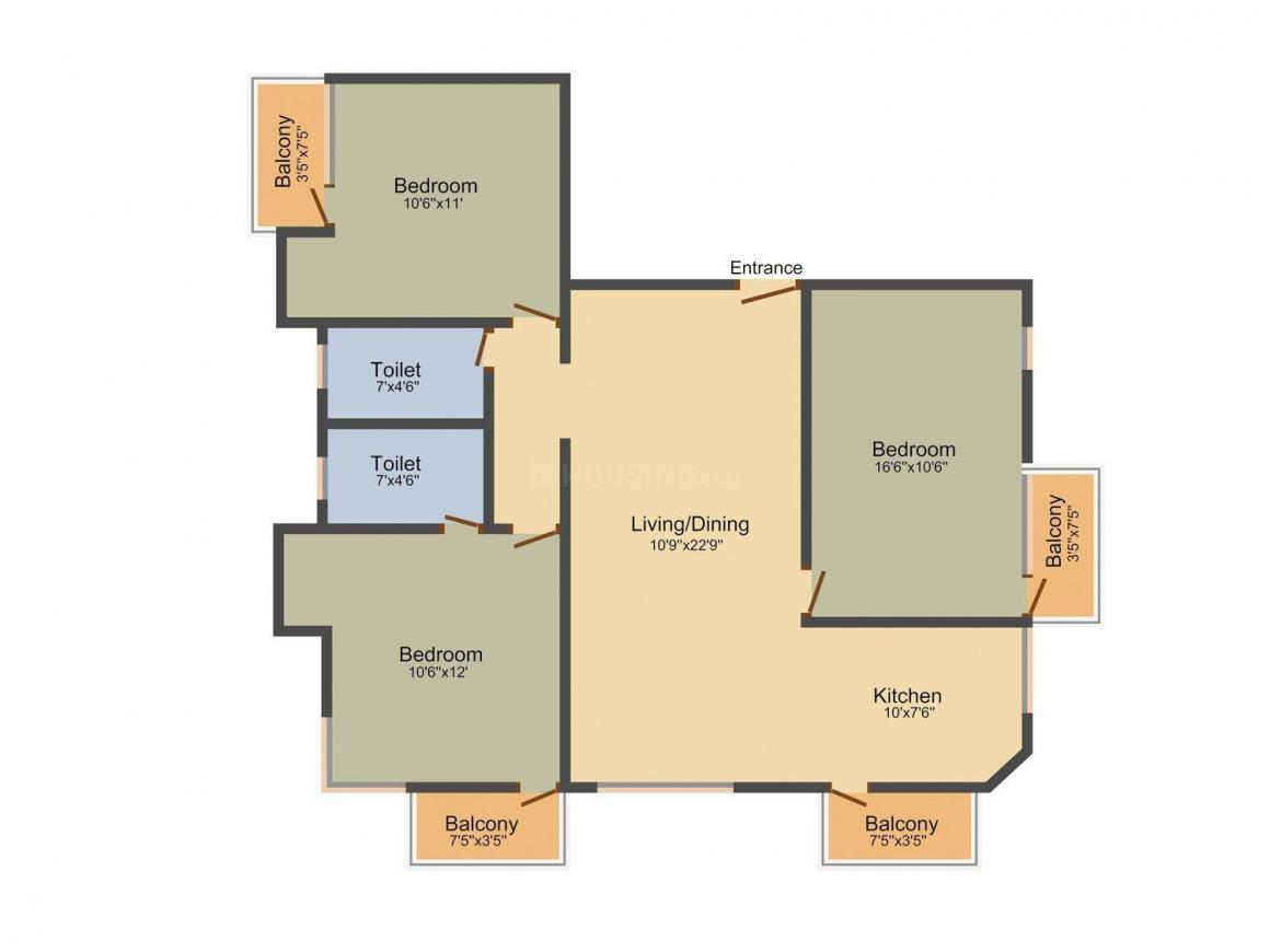 Ubiqon Serenity Floor Plan: 3 BHK Unit with Built up area of 1348 sq.ft 1
