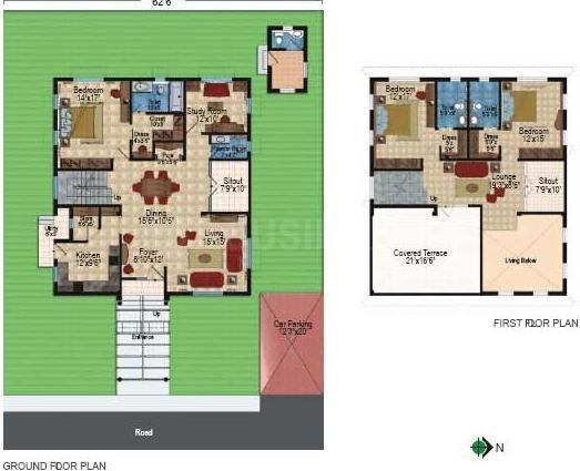 Floor Plan Image of 3700.0 - 4680.0 Sq.ft 3 BHK Villa for buy in Prajay Celebrity Villas