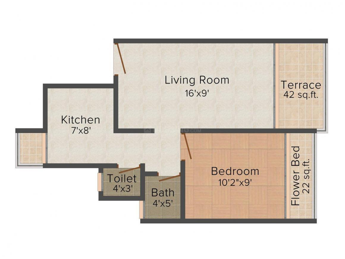 Floor Plan Image of 640.0 - 770.0 Sq.ft 1 BHK Apartment for buy in ShivKartik