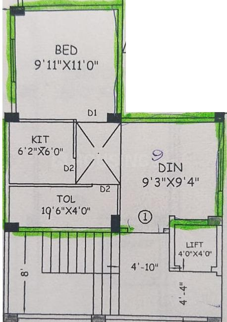 Biswanath Apartment Floor Plan: 1 BHK Unit with Built up area of 523 sq.ft 1