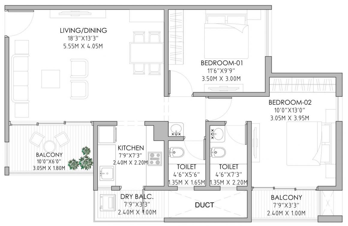 Nimani Alive Skypark Floor Plan: 2 BHK Unit with Built up area of 680 sq.ft 1