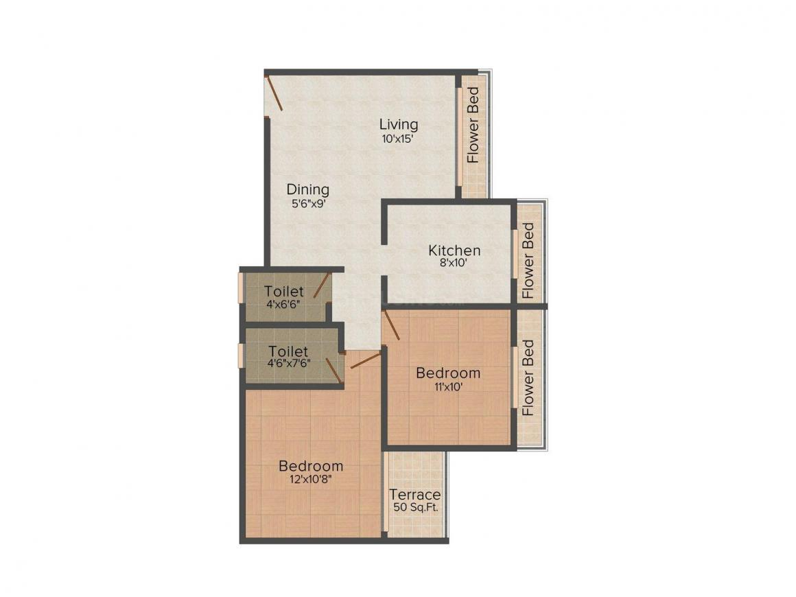 Floor Plan Image of 0 - 1060.0 Sq.ft 2 BHK Apartment for buy in Sai Manomay