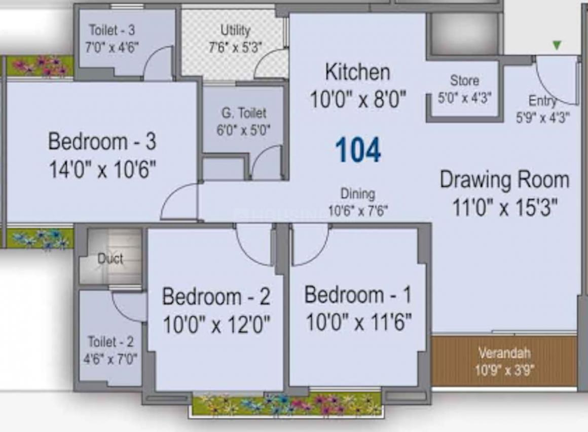 Silver Spring Floor Plan: 3 BHK Unit with Built up area of 1825 sq.ft 1