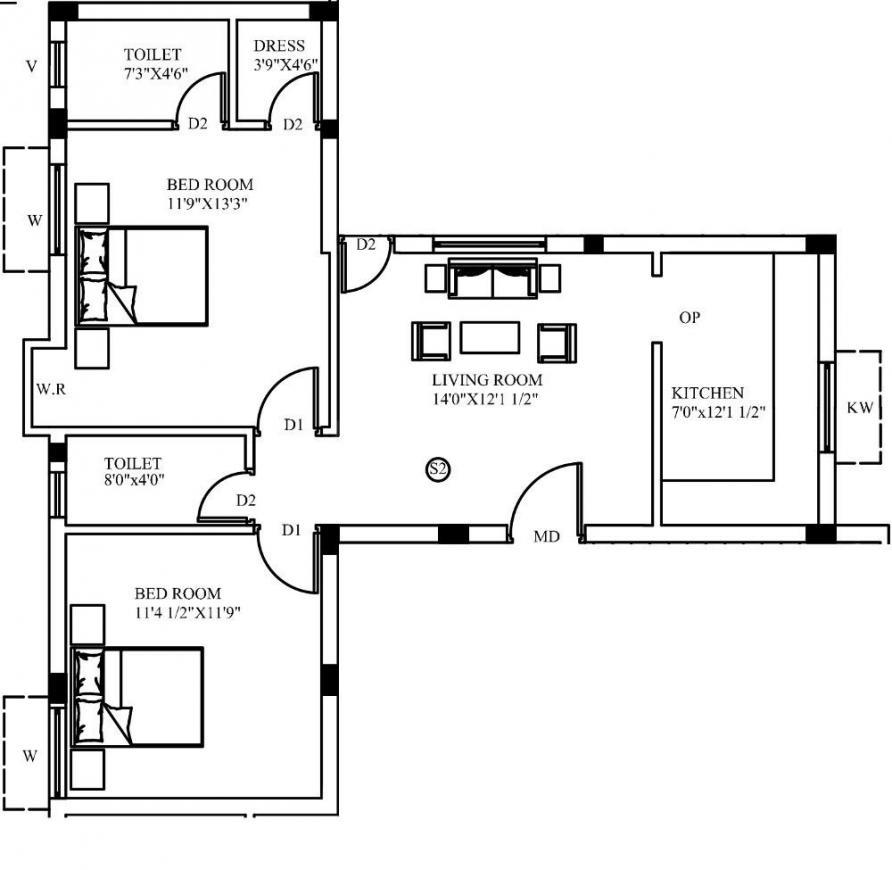 Sankar Pandavas Floor Plan: 2 BHK Unit with Built up area of 910 sq.ft 1