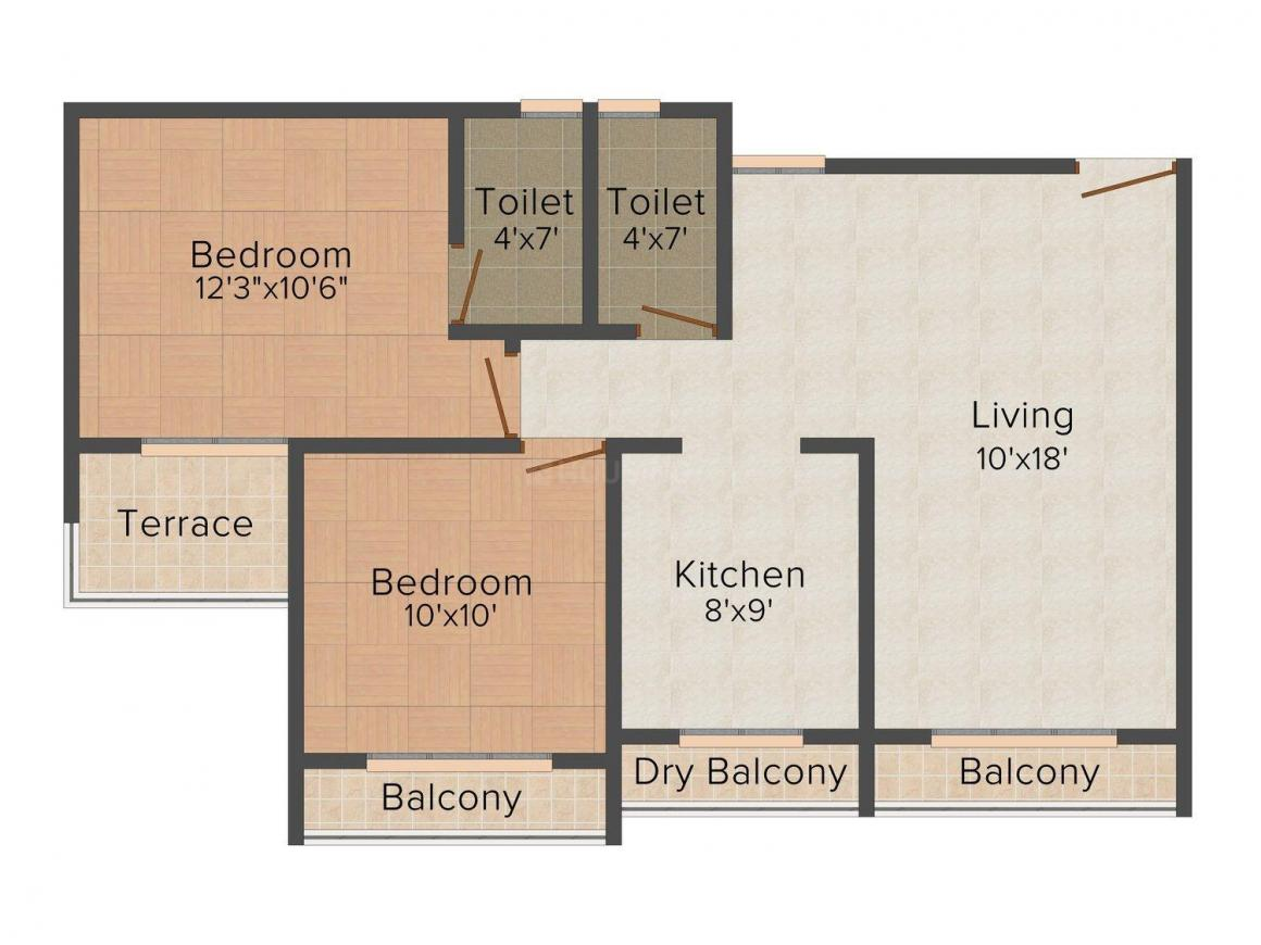 Floor Plan Image of 0 - 970.0 Sq.ft 2 BHK Apartment for buy in Sacho Bliss