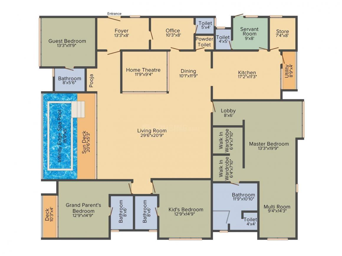 Floor Plan Image of 0 - 4700.0 Sq.ft 4 BHK Apartment for buy in Lodha Bellezza