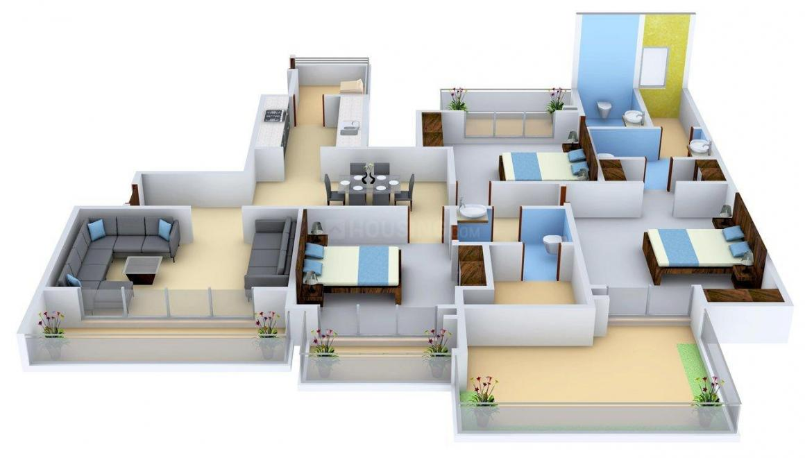 Prateek Edifice Floor Plan: 3 BHK Unit with Built up area of 2070 sq.ft 2
