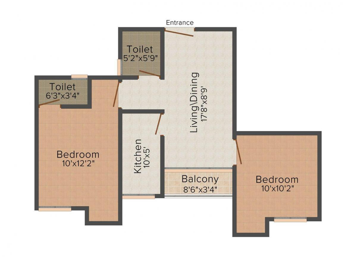 Floor Plan Image of 795.0 - 845.0 Sq.ft 2 BHK Apartment for buy in Ganeshka III