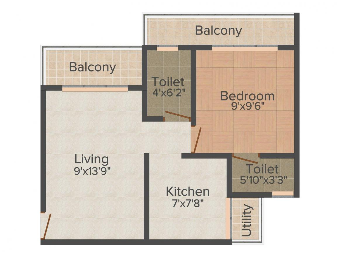 Floor Plan Image of 550 - 950 Sq.ft 1 BHK Apartment for buy in Hariom Pushp Sindhu