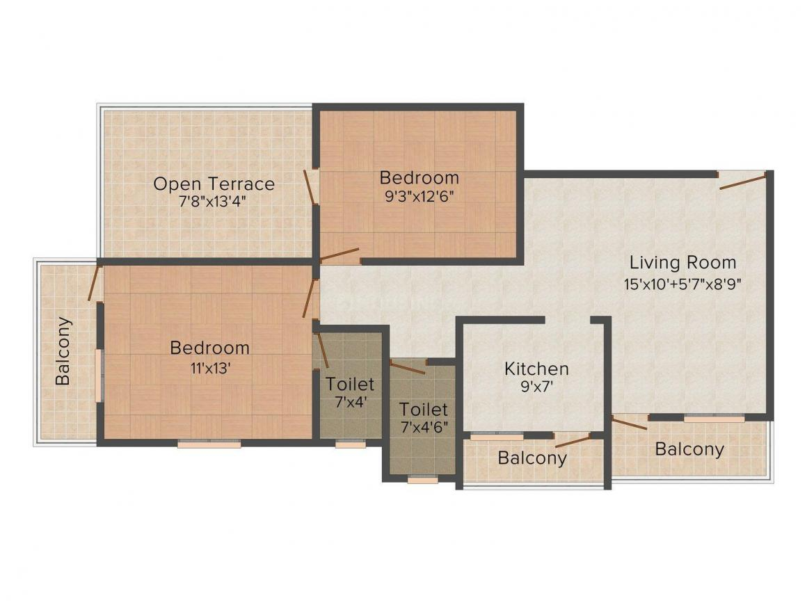 Floor Plan Image of 758.0 - 877.0 Sq.ft 2 BHK Apartment for buy in Veda Hrugwed  - 2