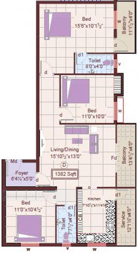 Sri Balajis Emerald Floor Plan: 3 BHK Unit with Built up area of 1382 sq.ft 1