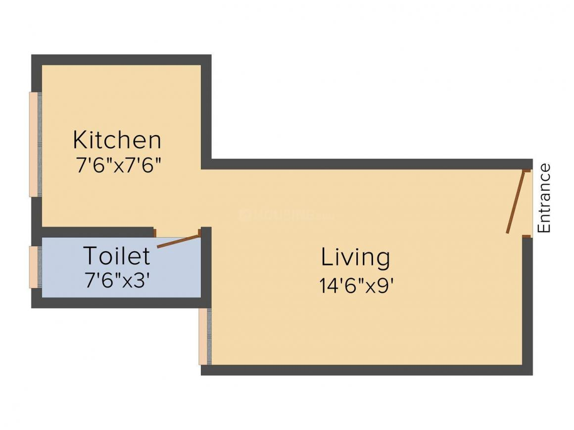Floor Plan Image of 300 - 550 Sq.ft 1 RK Apartment for buy in Yasharaj Galaxy