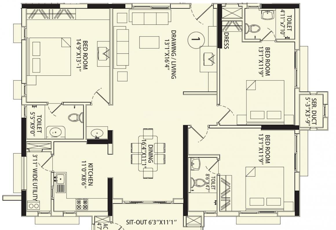 Aparna Sarovar Floor Plan: 3 BHK Unit with Built up area of 1800 sq.ft 1