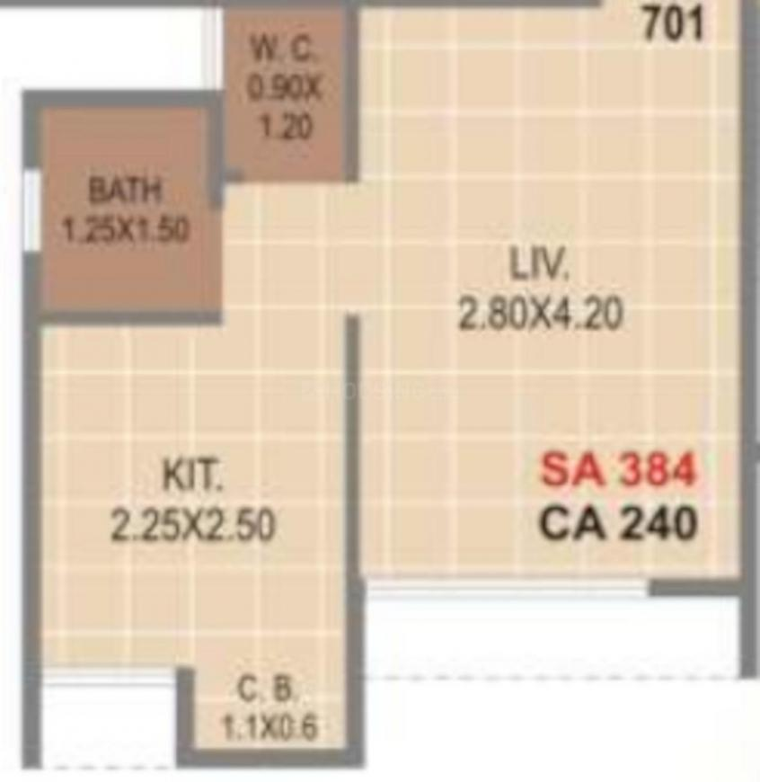 Haware Citi Floor Plan: 1 BHK Unit with Built up area of 240 sq.ft 1