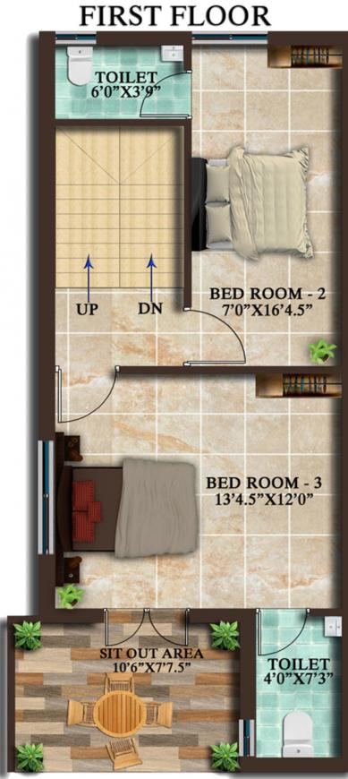 MP Green County Floor Plan: 3 BHK Unit with Built up area of 1390 sq.ft 2