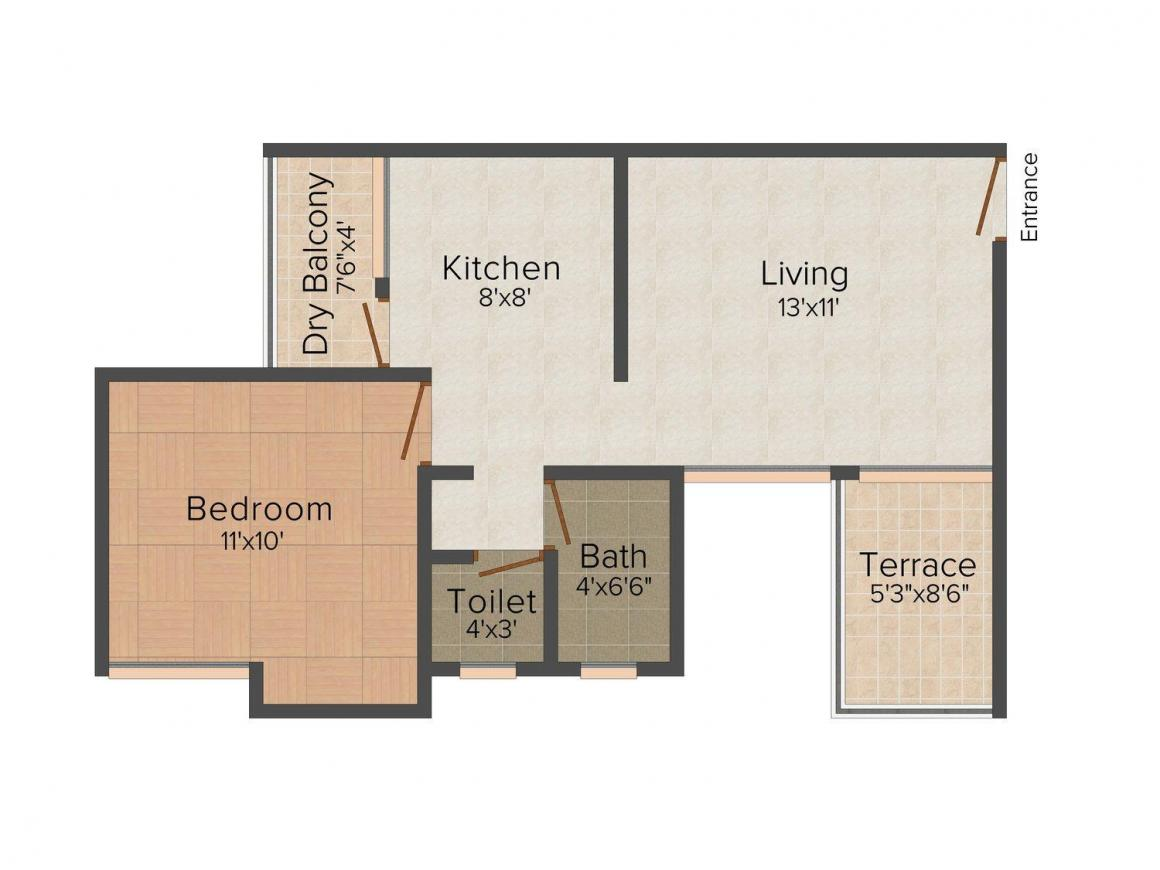 Floor Plan Image of 620.0 - 795.0 Sq.ft 1 BHK Apartment for buy in Nivasa Umang