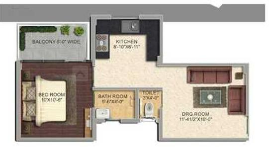 Pyramid Urban Homes 2 Floor Plan: 1 BHK Unit with Built up area of 335 sq.ft 1