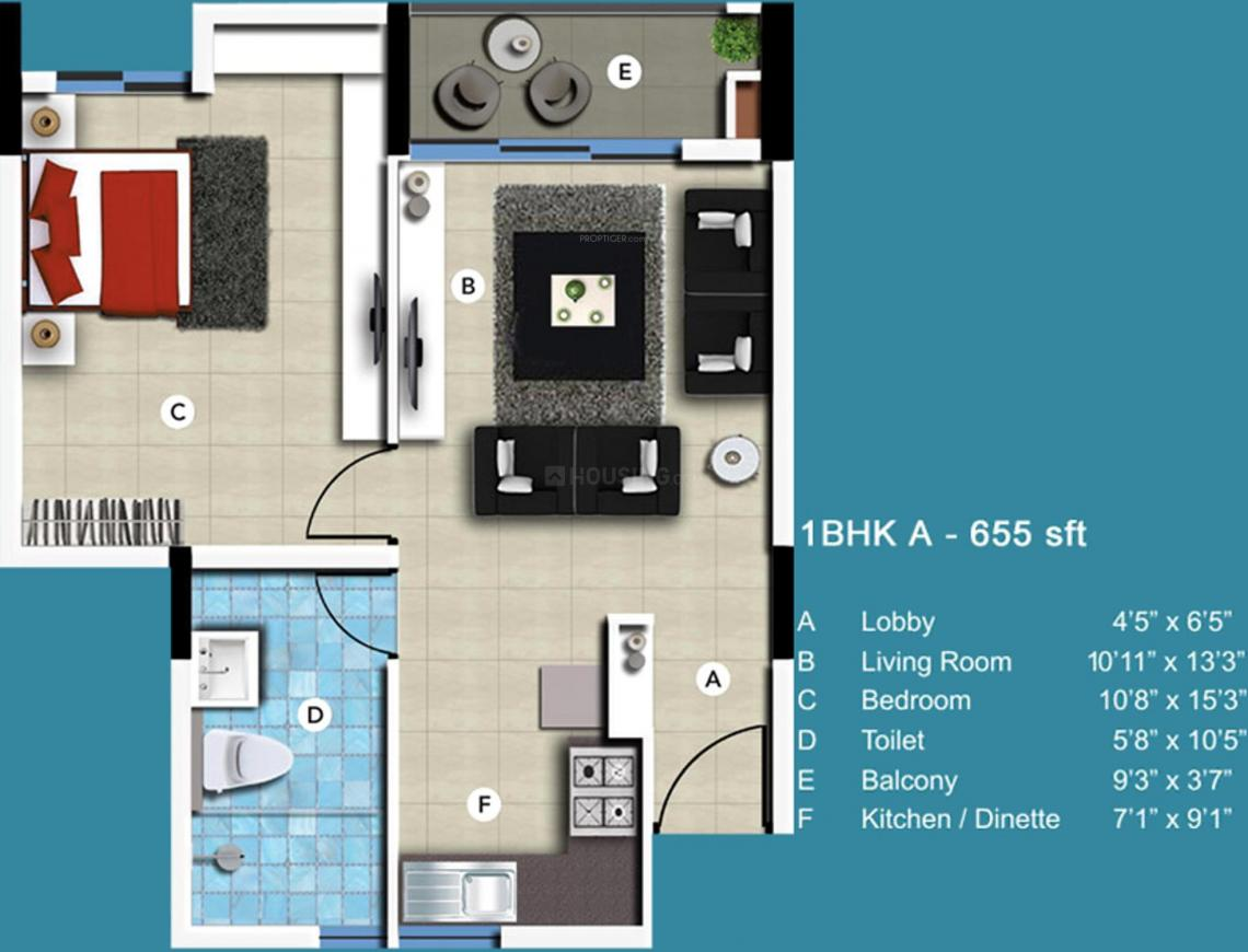 SJR Blue Waters Floor Plan: 1 BHK Unit with Built up area of 655 sq.ft 1
