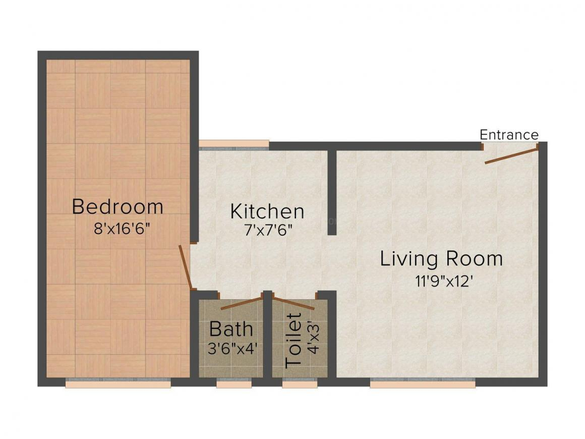 Floor Plan Image of 0 - 472 Sq.ft 1 BHK Apartment for buy in Yash Sai Sparsh